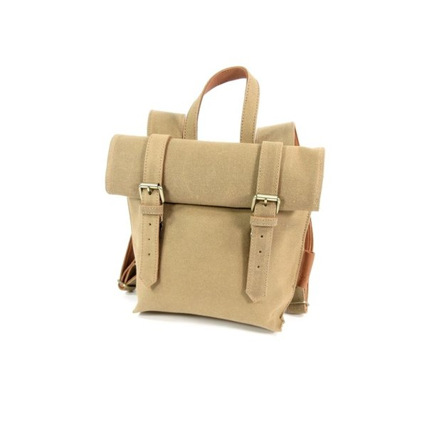 Dames roltop rugzak Opera Waxed Canvas Sand - cognac
