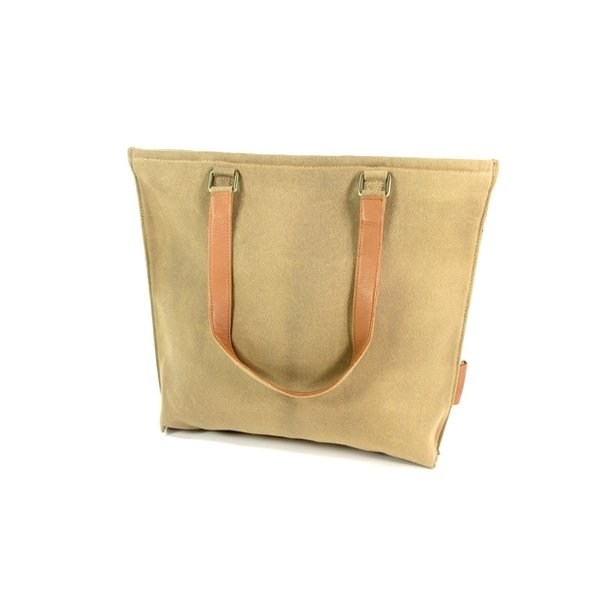Damestas shopper Sol Waxed Canvas Sand - cognac