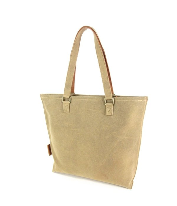 Laauw Damestas shopper Sol Waxed Canvas Sand - cognac