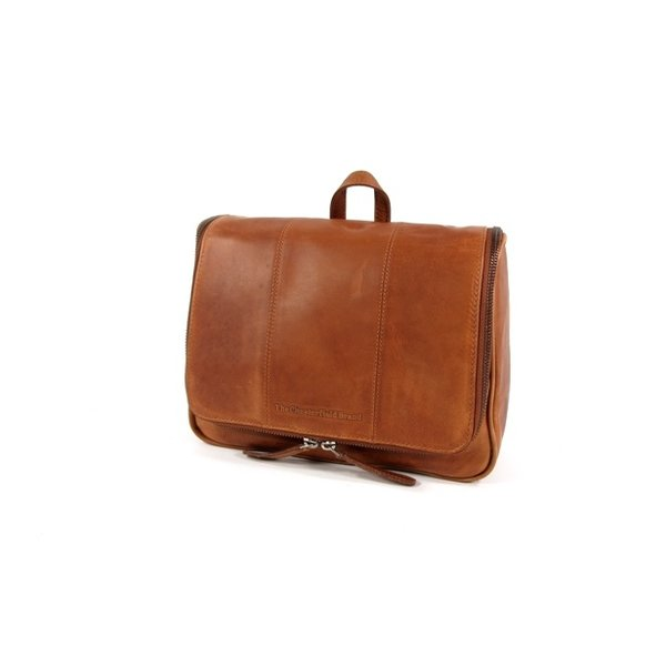 Leren toilettas GILLIAN Wax pull up leather Cognac