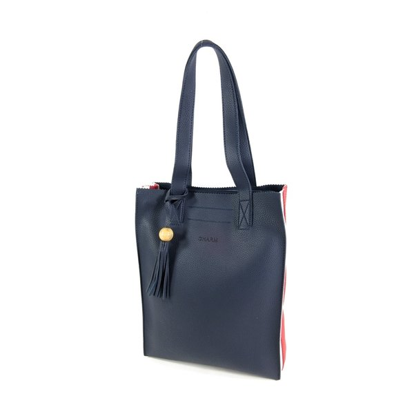 PU Convent Garden dames Hoog model shopper Navy/wit/rood