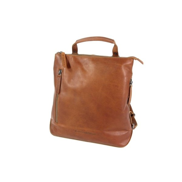 Dames rugzak schoudertas Elise waxed pull up cognac