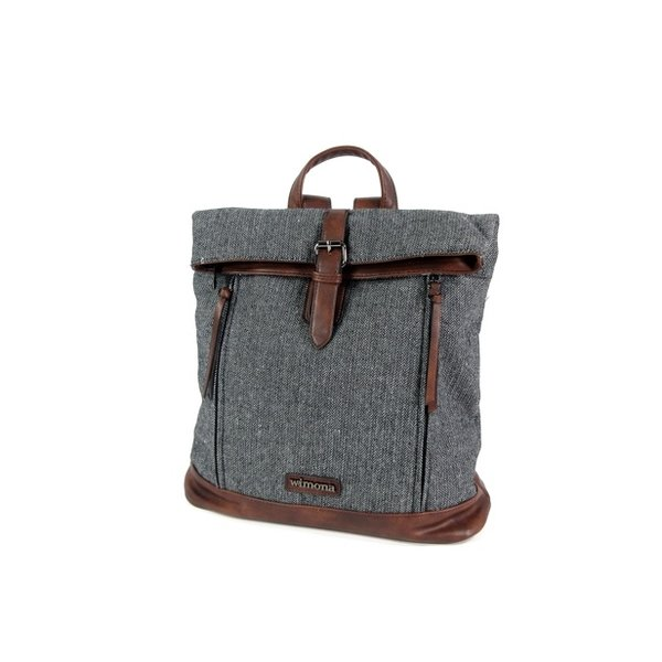 PU dames rugzak backpack BOLONIA canvas look zwart