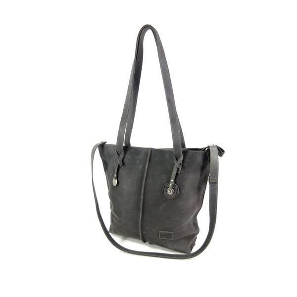 Handgemaakte leren Shopper TULP #01 Night grey