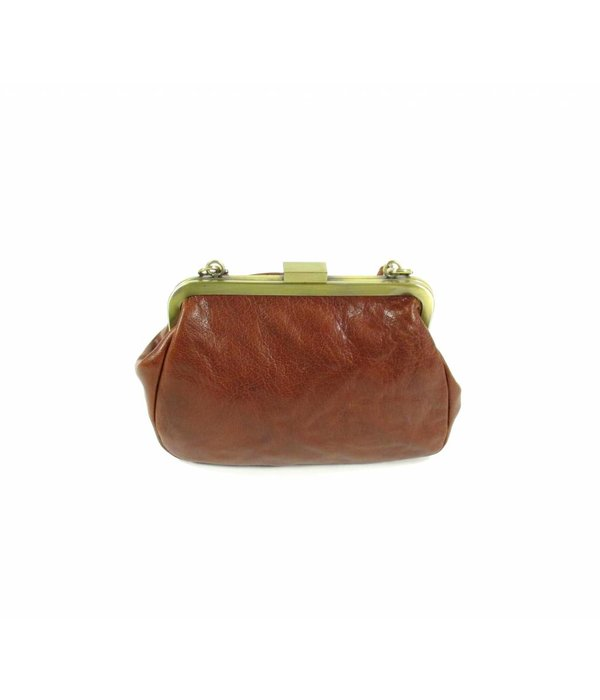 LEATHER DESIGN Dames leren beugeltasje Cognac