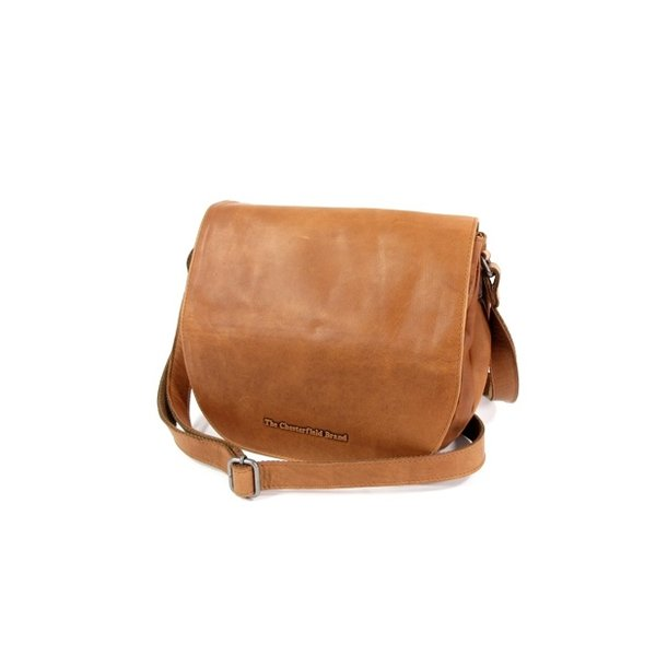 Dames schoudertas kleptas MILLIE wax pull up Cognac