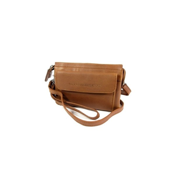 2 vaks schoudertasje clutch KAYLEIGH wax pull up cognac