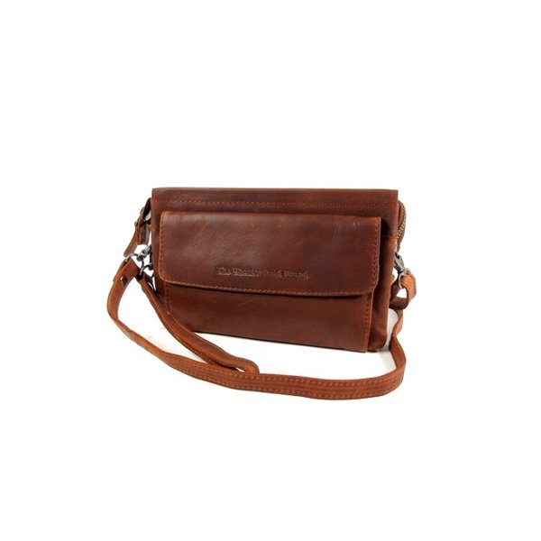 2 vaks schoudertasje clutch EVELYN wax pull up cognac