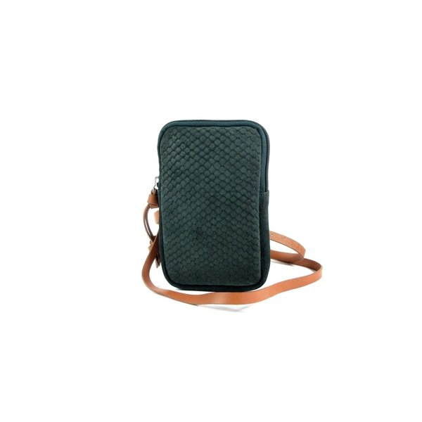 STRETTO telefoon schoudertasje portemonnee Bottle green