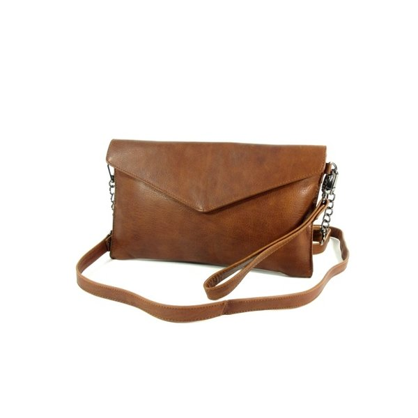 Chique dames envelop clutch schoudertas cognac