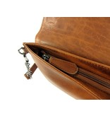 LEATHER DESIGN Chique dames envelop clutch schoudertas cognac