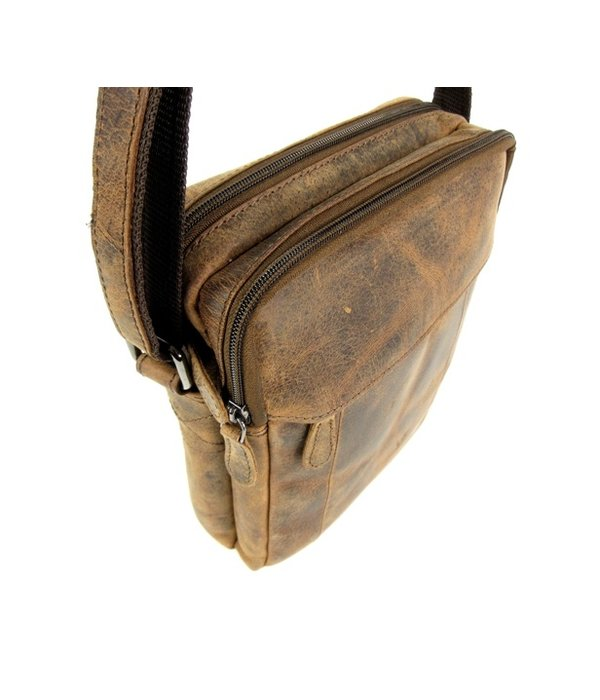 LEATHER DESIGN Hunter leren heren schoudertas XL bruin