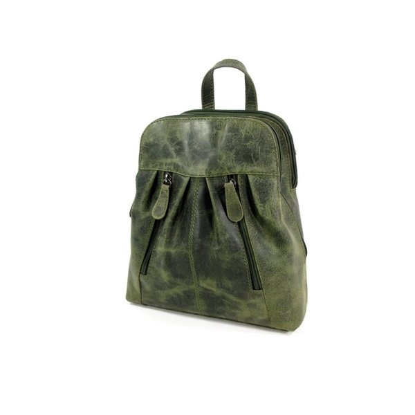 Trendy 3 vaks hunter leren rugzak green