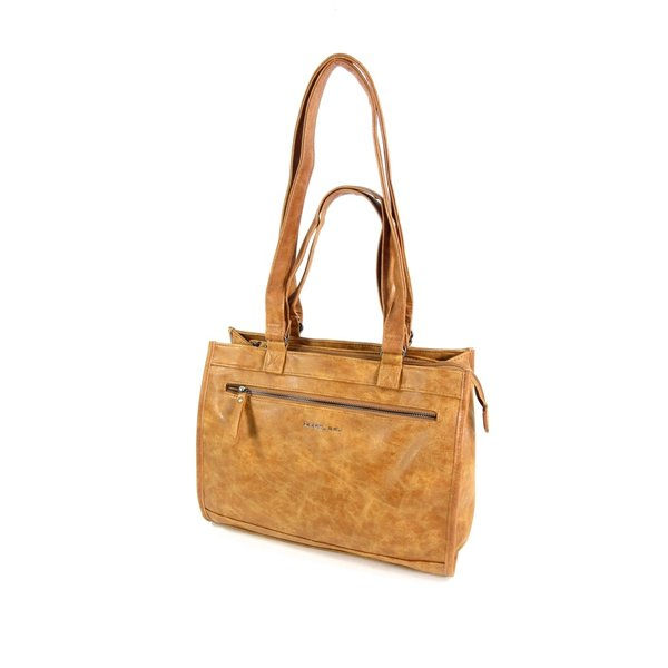 shopper schoudertas LAKE met laptopvak Cognac