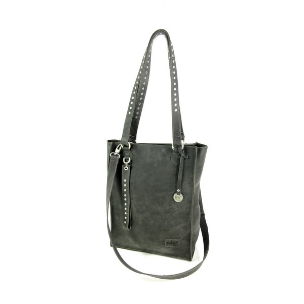 Handgemaakte leren shopper schoudertas #13 Night Grey
