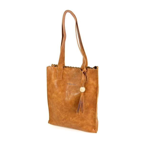 Soepel PU hoog model shopper Miami cognac