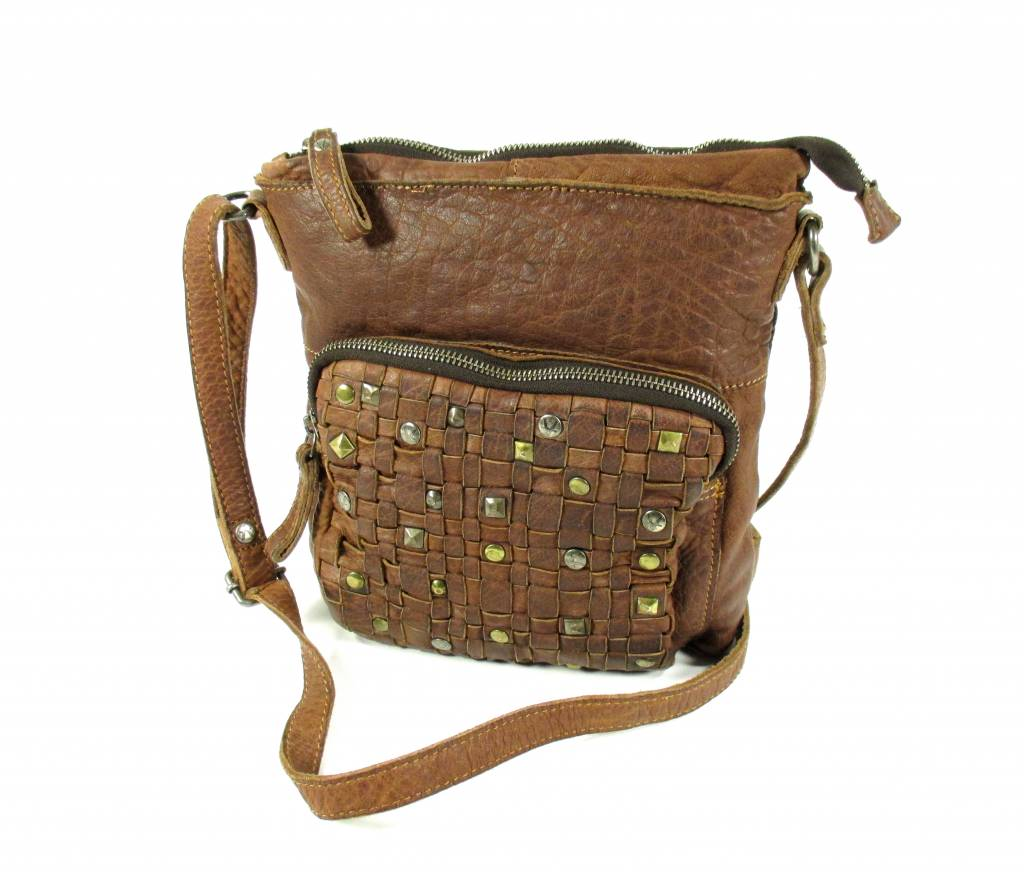 Image of Trendy schoudertasje Adith met studs Cognac