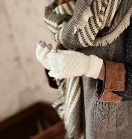 Wintersjaal, lange strepen en ingewoven visgraadmotief