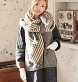 Deze sjaal kan ook met de tegengestelde kant gedragen worden, deze is grijs met zwarte strepen.