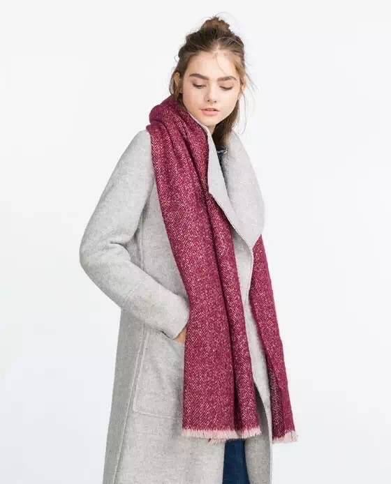 Sjaal Visgraat Rood
