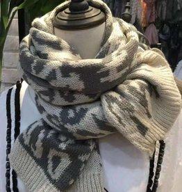 Gebreide Sjaal Hug Me, Wit en Donker Platina
