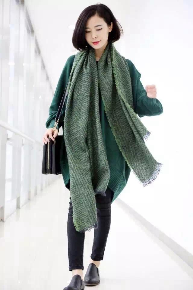 Sjaal Visgraat Groen