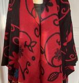 Poncho Fleur Zwart & Rood