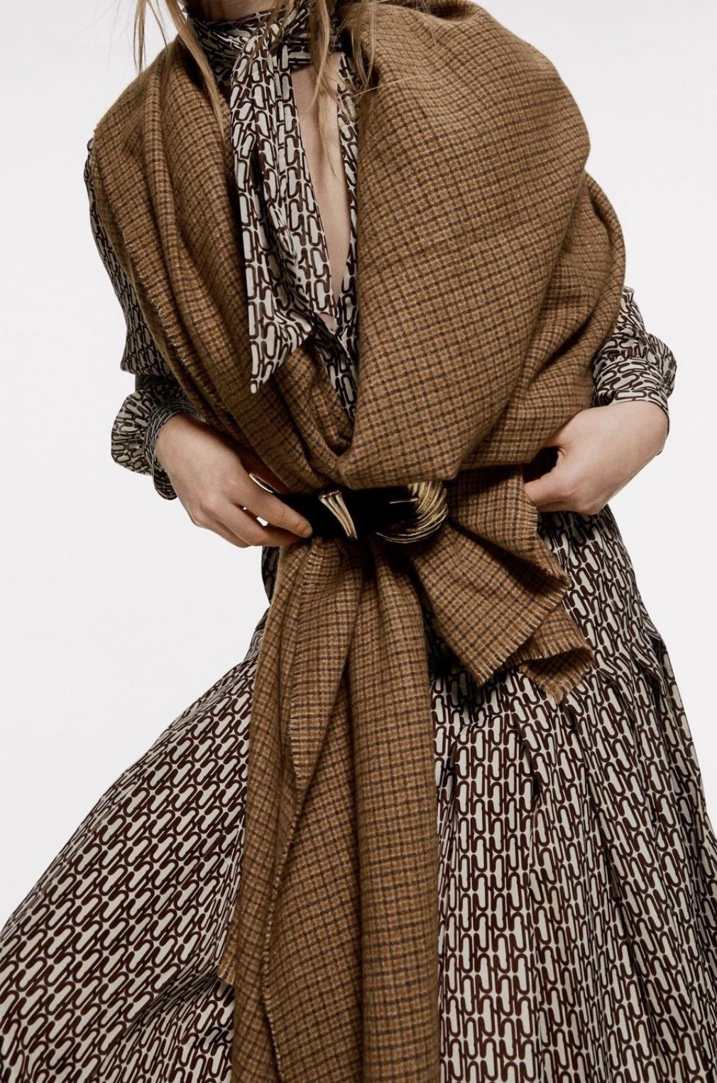 Grote Sjaal Bruinkleurig geruit