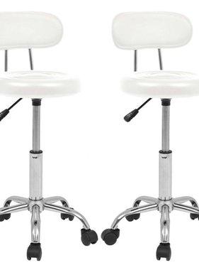 vidaXL Barkrukken op wielen kunstleer wit 2 st
