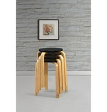 vidaXL Krukken stapelbaar massief gebogen hout zwart 4 st