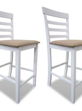 vidaXL Barstoelen hout wit en beige 2 st