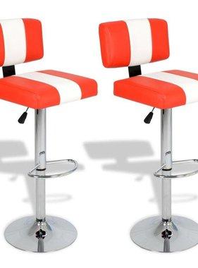 vidaXL Barkrukken kunstleer verstelbaar draaibaar rugleuning rood&wit/2 st