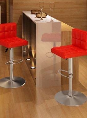 vidaXL Barkruk rood in hoogte verstelbaar (set van 2)