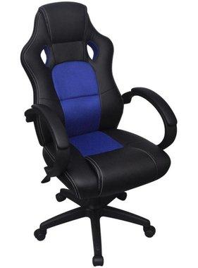 vidaXL Bureaustoel directie racemodel blauw kunstleer