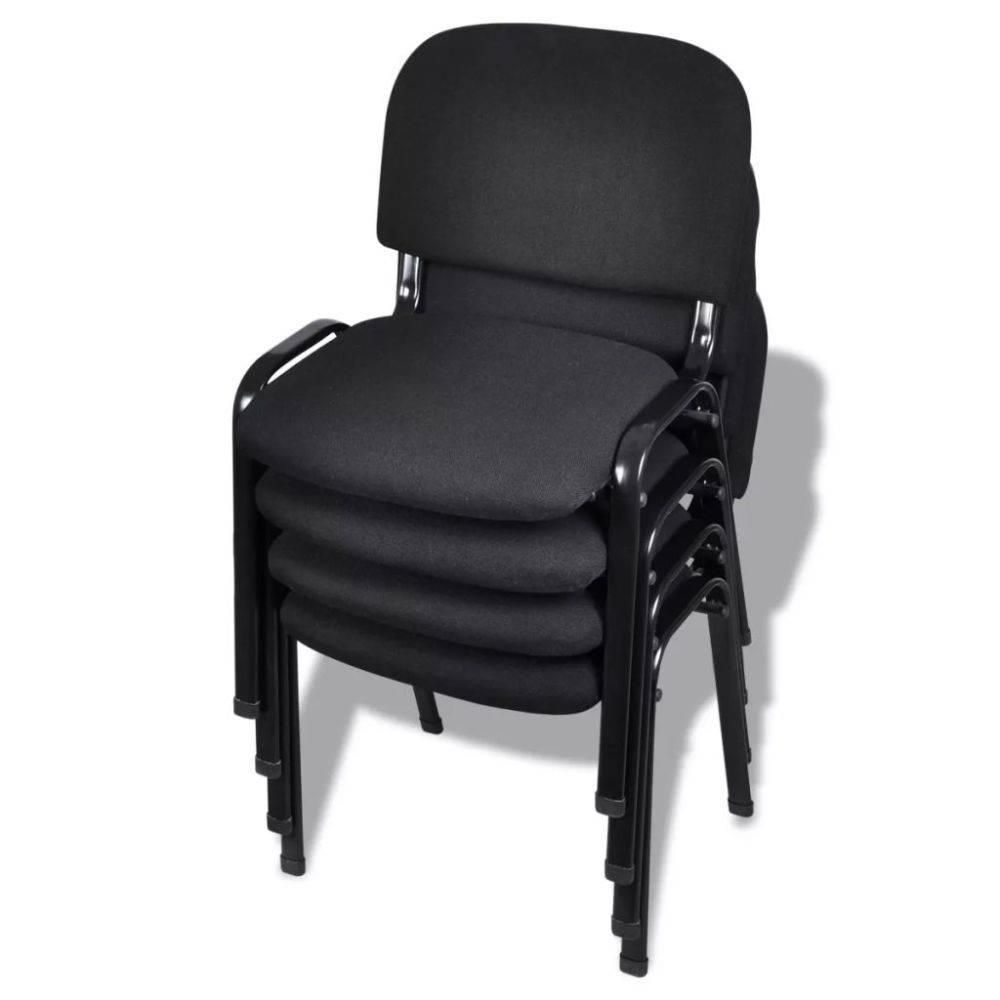 Bureaustoel Stof Zwart.Vidaxl Stapelbare Bureaustoelen 4 Stuks Stof Zwart