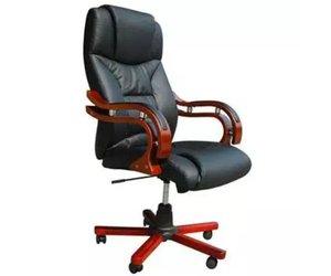 Bureaustoel zwart leer met luxe armleuning ✅ kantoormeubelen plus