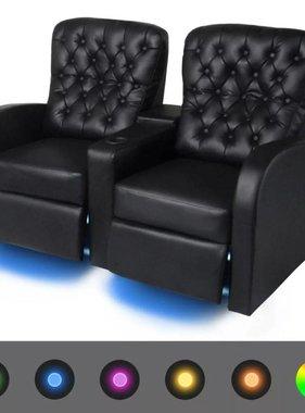 vidaXL LED Dubbele leunstoel gecapitonneerd 2-zits kunstleer zwart