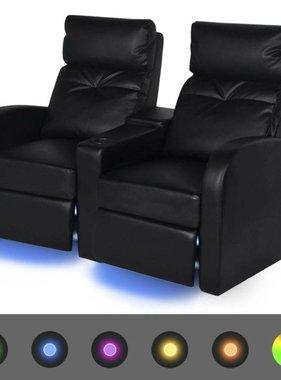 vidaXL LED Dubbele leunstoel 2-zits kunstleer zwart