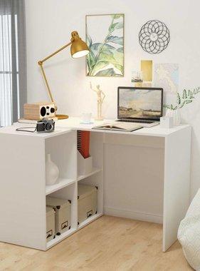 vidaXL Bureau met boekenplank 117x92x75,5 cm wit