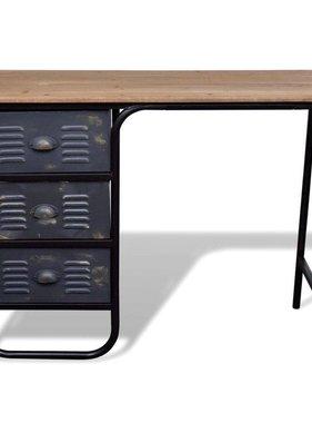 vidaXL Bureau/dressoir met drie lades hout antiek look