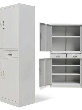 vidaXL Kantoorkast met 4 deuren en 2 lades 140 cm metaal grijs