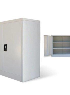 vidaXL Kantoorkast met 2 deuren 90 cm staal grijs