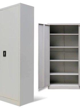 vidaXL Kantoorkast met 2 deuren 180 cm metaal grijs