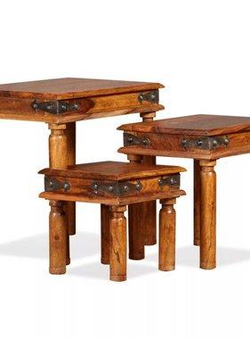 vidaXL Tafeltjesset massief sheesham hout bruin 3-delig