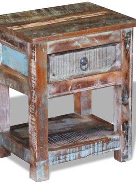 vidaXL Bijzettafel met lade massief gerecycled hout 43x33x51 cm