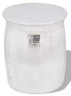 vidaXL Krukje/bijzettafeltje gehamerd aluminium zilverkleurig
