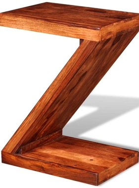 vidaXL Bijzettafel Z-vormig massief sheesham hout