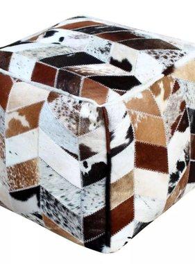 vidaXL Poef echt leer vierkant meerkleurig 45x45x45 cm