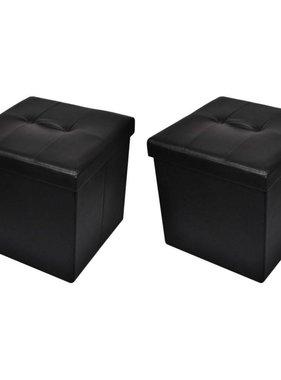 vidaXL Opvouwbare poef (zwart, set van 2)