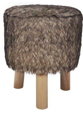 vidaXL Poef nepbont met 3 houten pootjes (bruin)